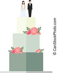 aprósütemény, elszigetelt, dekoráció, háttér., esküvő, virágos, fehér