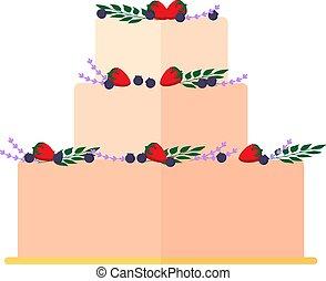 aprósütemény, elszigetelt, pite, dekoráció, háttér., esküvő, virágos, fehér