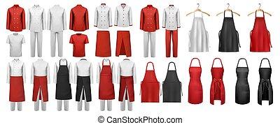 aprons., díszkíséretek, öltözet, állhatatos, fehér, vector., nagy, konyhai, piros