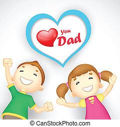 apuka, ön, szeret