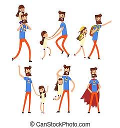 apuka, elfoglalt, övé, hős, állhatatos, sok, atya, vektor, háttér, ábra, lány, fehér, művek, szuper