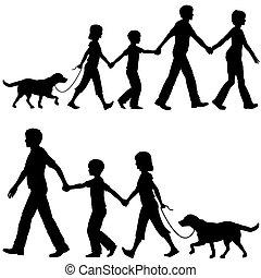 apuka, gyerekek, ólom, család hím, jár, anyu, kényelmes