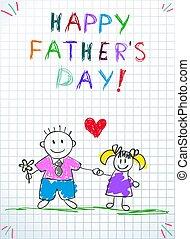 apuka, lány, apák, köszönés, nap, kártya, boldog