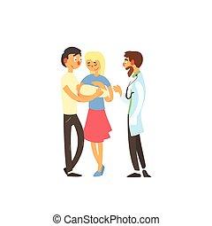 apuka, orvos, család, fiatal, mama, fogadás, csecsemő