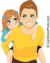 apuka, piggyback elnyomott, lány