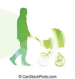 apuka, sétálók, fogalom, árnykép, színes, gyalogló, ábra, kocsi, háttér, csecsemő, ember