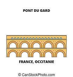 aqueduct), a te, occitanie, lineáris, pont, gard, -, franciaország, vektor, határkő, design., (roman, egyenes, láthatár, utazás, illustration.
