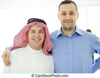 arab, férfiak, kaukázusi, együtt, európai