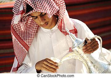 arab, felfogó, megvendégel, ember, fiatal