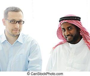 arab, munka, fekete, kaukázusi, férfiak