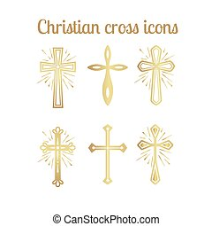 arany-, állhatatos, keresztény, kereszt, ikonok