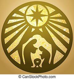 arany, árnykép, háttér., vektor, család, biblia, színhely, jámbor, ikon, keresztény, ábra
