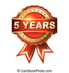 arany- év, 5, évforduló, címke