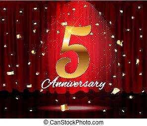 arany-, évforduló, ábra, év, vektor, 5, sablon