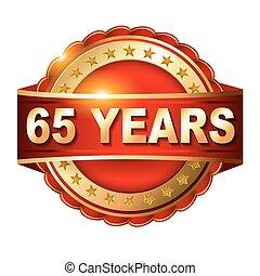 arany-, évforduló, 65, címke, év