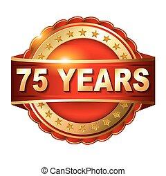 arany-, évforduló, 75, címke, év