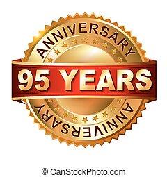 arany-, évforduló, címke, év, 95
