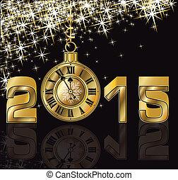 arany-, újév, 2015, boldog, óra