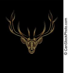 arany-, őz, stilizált, háttér., fekete, portré