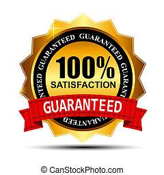 arany, 100%, guaranteed, ábra, címke, megelégedettség, vektor, piros szalag