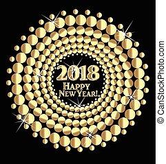 arany, 2018, háttér, év, új, boldog