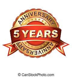 arany-, 5, évforduló, ribbon., címke, év