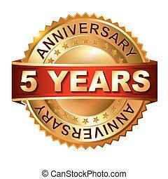 arany-, 5, évforduló, wi, címke, év