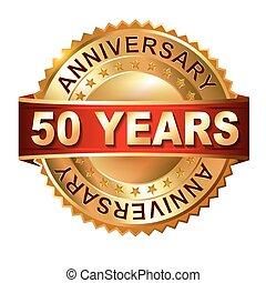 arany-, 50, évforduló, címke, év