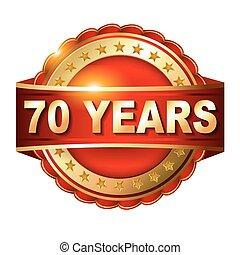 arany-, 70, évforduló, címke, év