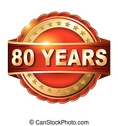 arany-, 80, évforduló, címke, év