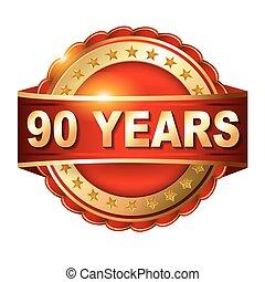 arany-, 90, évforduló, címke, év