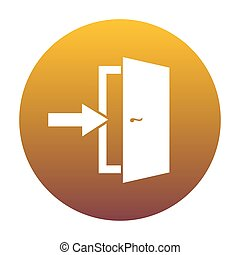 arany-, ajtó, gradiens, cégtábla., kijárat, bac, white körbejár, ikon