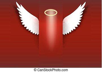 arany-, angyal, lebegés, dicsfénnyel övezni, háttér, kasfogó, piros