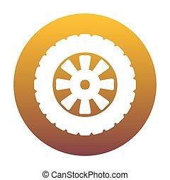 arany-, autógumi, gradiens, cégtábla., bac, white körbejár, út, ikon
