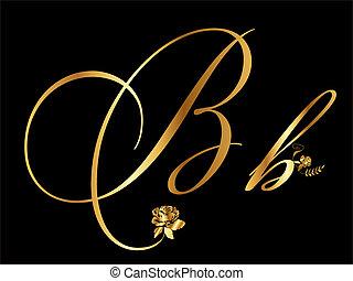 arany, b betű, vektor, levél