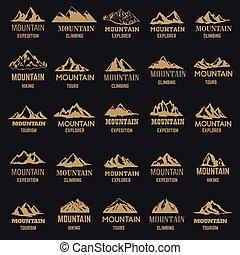 arany-, címke, háttér., ikonok, hegy, állhatatos, elszigetelt, tervezés, sötét, mód, jel, embléma, cégtábla., alapismeretek