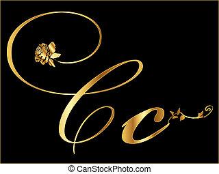 arany-, c-hang, vektor, levél