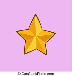 arany-, csillag, -, karácsony, karikatúra, ikon