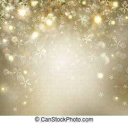 arany-, csillaggal díszít, hunyorgó, háttér, ünnep, karácsony