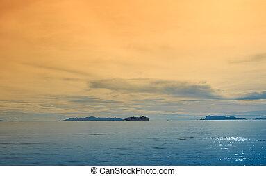 arany-, drámai, naplemente ég, kék, körképszerű, tenger