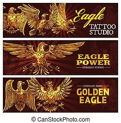 arany-, erő, jelkép, vektor, sasok, címertani