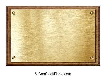 arany-, fából való, elszigetelt, keret, fehér, nameboard, tányér, vagy