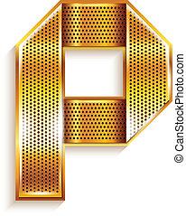arany, fém, -, p, levél, szalag