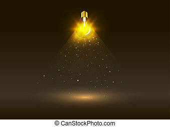arany-, fényes, elektromos, gumó, fény