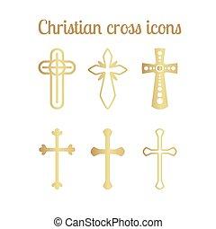 arany-, fehér, keresztény, kereszt, ikonok