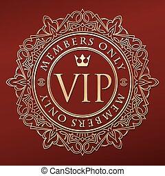 arany, felirat, választékos, rendkívüli, kerek, díszít, crown., gazdag, egyetlen, lakberendezési tárgyak, keret, elegáns, tagok, nagyon fontos személyiség