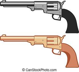 arany, forgópisztoly, elszigetelt, vektor, white., pisztoly, ezüst