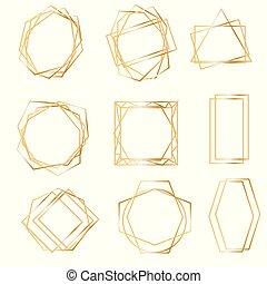 arany-, geometriai, frames.
