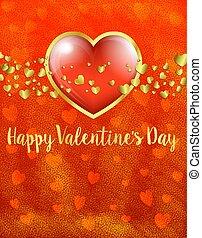 arany-, gold kártya, valentines, -, kedves, szív, piros háttér, nap, kártya