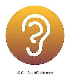 arany-, gradiens, cégtábla., bac, emberi, fehér, fül, karika, ikon